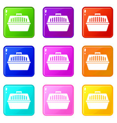 Pet carry case icons 9 set vector