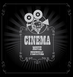 Poster for cinema movie festival with old camera vector