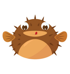 Puffer fish on white background vector