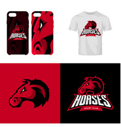 Red horse head sport club isolated logo vector