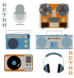 Retro media technology icons vector image