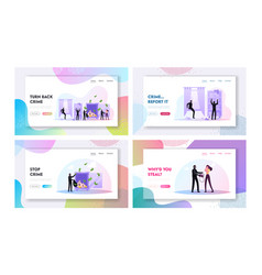 Robbery or theft landing page template set masked vector