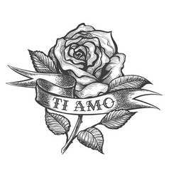 Rose with ribbon tattoo vector