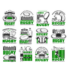 rugby sport icons american football game vector image