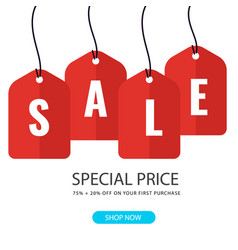 sale special price 75 20 red tag background vect vector image