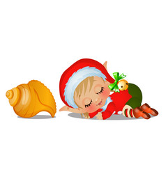 santas helper sleeping with large seashell vector image