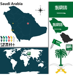 Saudi Arabia map world vector image