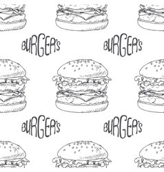 Seamless pattern with hand drawn burger vector