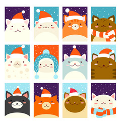 set christmas gift tag card badge sticker vector image