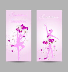 Set of banners with ballerinas vector