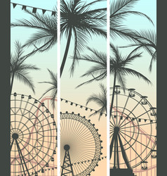 set of banners with roller-coaster and ferris vector image