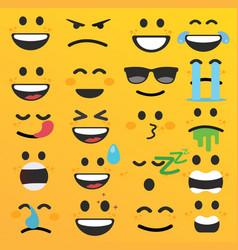 Set of cute emoji emoticon faces vector
