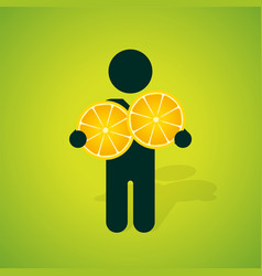 silhouette of a man holding two yellow lemon vector image