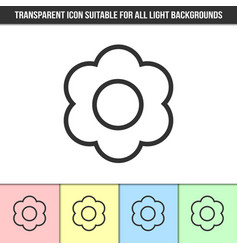 Simple outline transparent flower icon vector