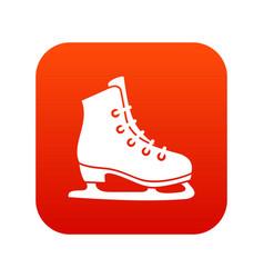 skates icon digital red vector image