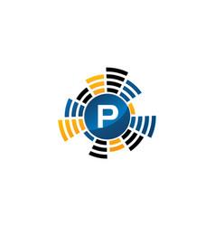 Sound service production letter p vector