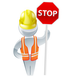 Stop sign workman vector