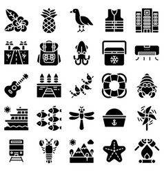 summer vacation related icon set 5 solid style vector image