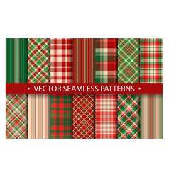 tartan set pattern seamless plaid geometric vector image