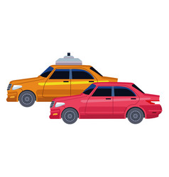 Taxicab and vehicle icon cartoon vector