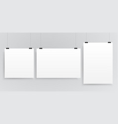 three rectangle square format paper sheets vector image