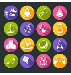 Toys Round Icons Set vector image