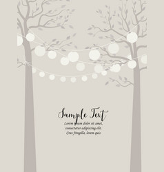 Trees and chain of lanterns vector