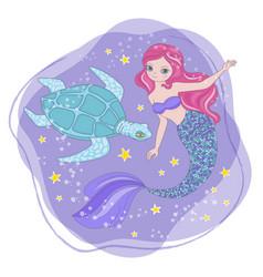 turtle mermaid space princess cartoon vector image