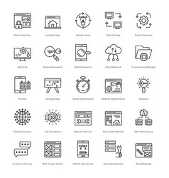 Web and seo line icons 41 vector