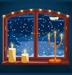 Winter window with candles candle holder and vector