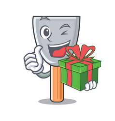 With gift cartoon putty knife in plaster vector