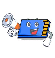 With megaphone memory card character cartoon vector