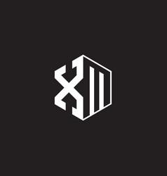 xm logo monogram hexagon with black background vector image