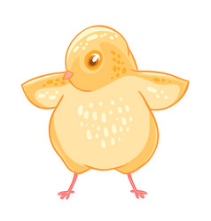 Yellow cute cheeper raised wings vector