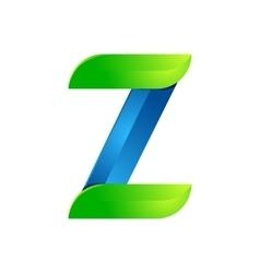 Z letter leaves eco logo volume icon vector image