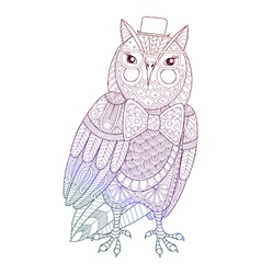 Zentangle Owl painting for adult anti stress vector image
