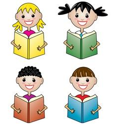 children holding books vector image vector image