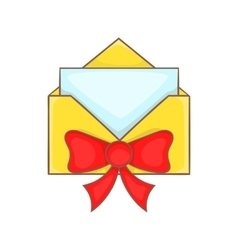 Christmas envelope with bow icon cartoon style vector image vector image