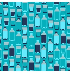 Seamless pattern with plastic bottles and glasses vector image