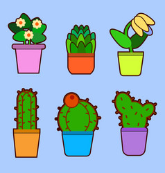 set of home flowers in pots house plants flat vector image