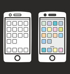 smartphone icon set isolated on black vector image