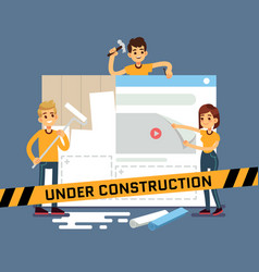 website under construction cartoon concept vector image vector image