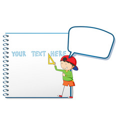blank notebook and little boy vector image vector image