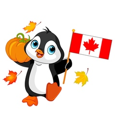 Canadian thanksgiving day penguin vector