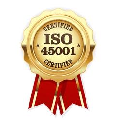 ISO 45001 standard certified rosette vector image vector image