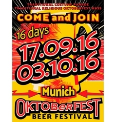 Oktoberfest beer festival celebration pop art vector image vector image