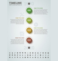 Timeline infographic with icons vector image vector image