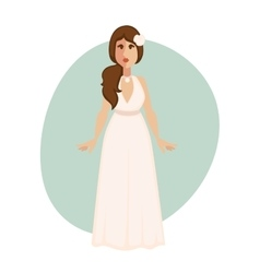 Beautiful bride woman in a wedding dress vector image