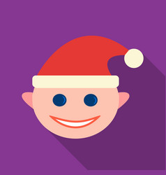 christmas elf icon in flat style isolated on white vector image vector image