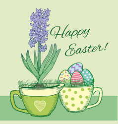 hand drawn floral happy easter poster vector image